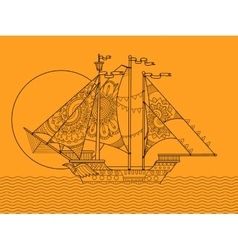 Sailing ship color drawing vector