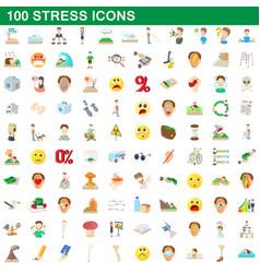 100 stress icons set cartoon style vector image