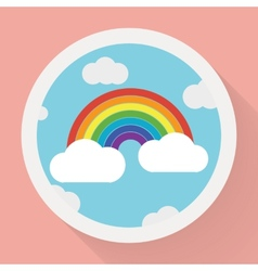 Color rainbow with clouds Flat style vector image vector image