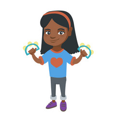 little african girl playing the tambourine vector image vector image