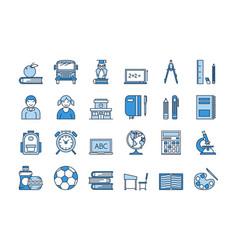 05 blue school education icons set vector image