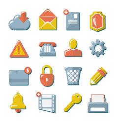 Set flat icons of web media internet mobile co vector image