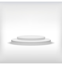 3d isolated Empty white podium on gray background vector image