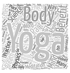 Benefit of Yoga Part I text background wordcloud vector image vector image