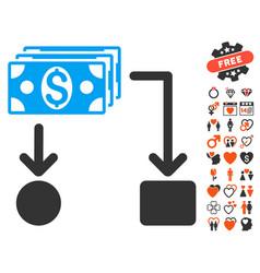 cashflow icon with dating bonus vector image vector image