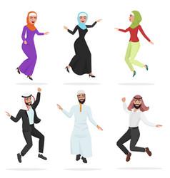 Happy group of cute arab people jumping cartoon vector