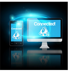 mobile phone and computer connected vector image