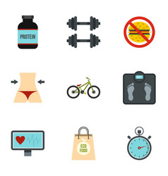 sport equipment icons set flat style vector image