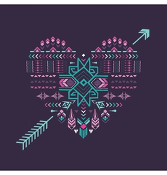 Tribal Heart - Vintage Aztec Background vector image vector image