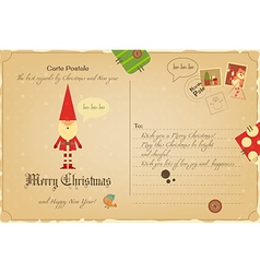 Vintage Postcard Christmas vector image vector image