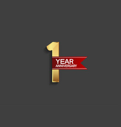 1 year anniversary simple design with golden vector