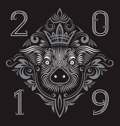 2019 new year of chinese horoscope greeting card vector