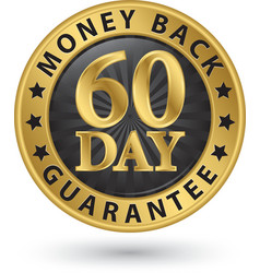 60 day money back guarantee golden sign vector image