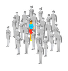 alone in the crowd one girl among gray people vector image