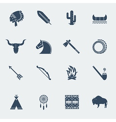 american native indians icons isolated vector image