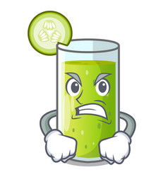 Angry delicious cucumber juice on table cartoon vector