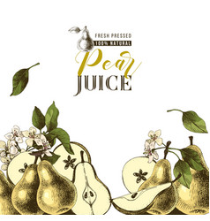 background with hand drawn pears vector image