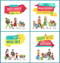 best choice and mega sale discount ad banners set vector image