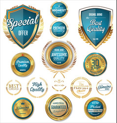 Blue and gold quality badges and labels vector