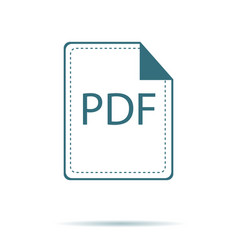 blue pdf icon isolated on background modern flat vector image