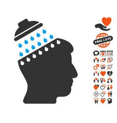 Brain shower icon with love bonus vector