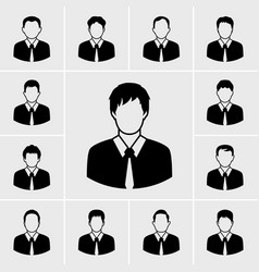 business man in black suit icons set vector image