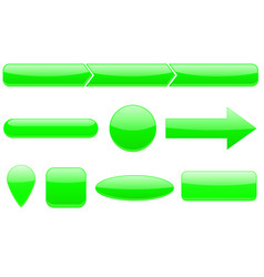 buttons set green web icons vector image