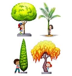 Children standing under different tree vector image