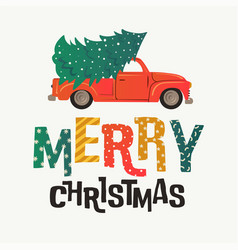 Christmas card red retro truck with fir tree and vector