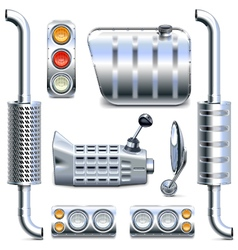 Chromed truck parts set 2 vector