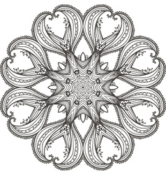 Circular floral ornament template for tattoo cards vector