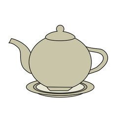 Color image cartoon porcelain tea kettle for hot vector