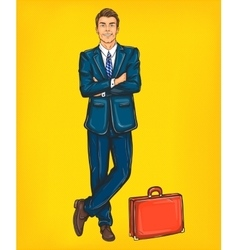 Confident pop art man in a suit vector image