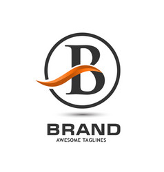 corporate letter b swoosh logo vector image