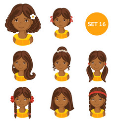 cute little african girls with various hair style vector image