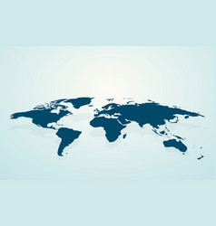 dark blue blank world map fake3d vector image
