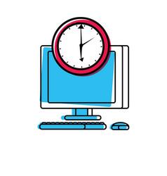 desktop computer with clock time vector image
