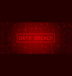 Digital binary code on dark red bg data breach vector