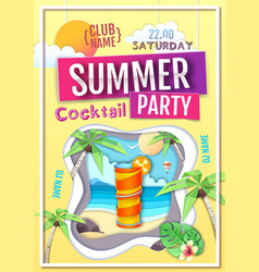 Disco summer cocktail party poster vector