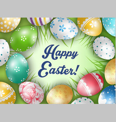 easter colorful eggs with a grass background vector image