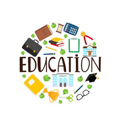 education round banner with stationery vector image
