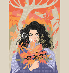 Enjoy fall concept a cute girl with bouquet vector