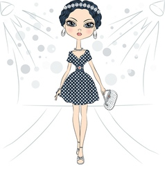 fashion girl top model on the catwalk vector image