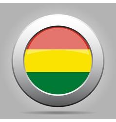 Flag of Bolivia Shiny metal gray round button vector