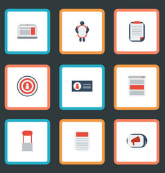 flat icons advertising laptop audience and other vector image