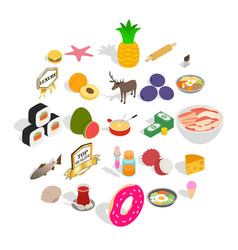 food business icons set cartoon style vector image