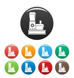 Food processor icons set color vector