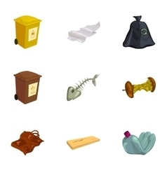 Garbage and recycling icons set cartoon style vector image