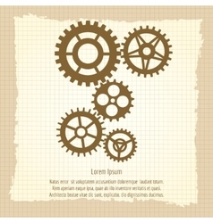 Gears icons combination on vintage background vector