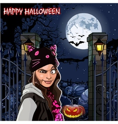 Girl in Halloween night at the field with pumpkins vector